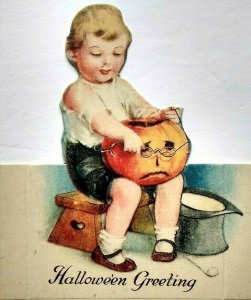 Halloween Placecard Ellen Clapsaddle Diecut Child & JOL Original Unused Antique