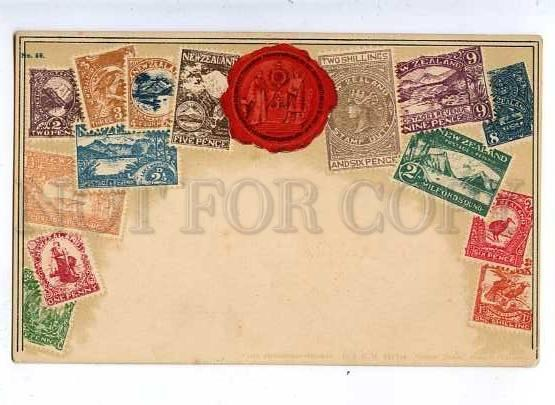 184848 NEW ZEALAND Coat of arms STAMPS vintage Zieher Postcard