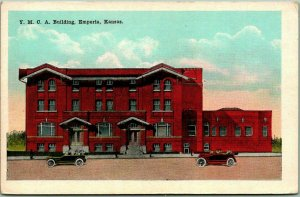 Emporia, Kansas Postcard YMCA BUILDING Hotel / Street View KROPP c1930s Unused