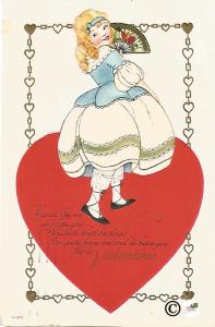 Lady with Fan on Red Heart Flirting Valentine's Day Greeting Vintage Postcard