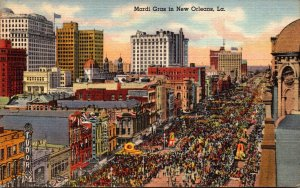 Louisiana New Orleans Canal Street During Mardi Gras Curteich