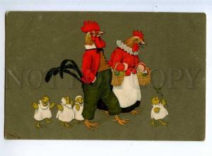 215176 EASTER Dressed ROOSTER Chicken Vintage VIENNE Munk #847