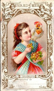 Victorian Reward Of Merit Card - GIRL - BIRD EXOTIC