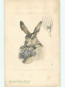 Pre-Linen Easter CUTE BUNNY RABBIT HOLDING FLOWER BASKET AB3667