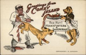 Coney Island Hot Dogs - Butcher Dog Waiter Comic c1915 Postcard bck