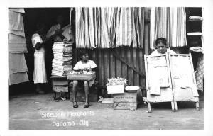 Panama City Panama Sidewalk Merchants Real Photo Antique Postcard K28698