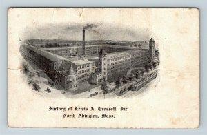 North Abington MA, Factory, Lewis A Crossett, Massachusetts Vintage Postcard Z60