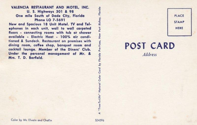 DADE CITY , Florida , 50-60s ; Valencia Restaurant & Motel