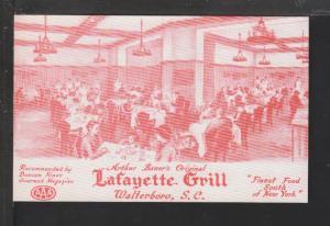 Lafayette Grill,Waterboro,SC Postcard
