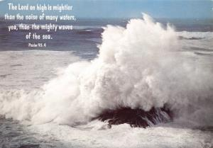 Postcard Bible Verse PSALM 93:4 The Lord on high is Mightier than the noise.. E5