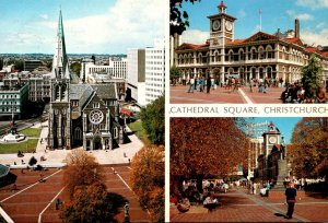 New Zealand Christchurch Cathedral and Square Post Office and Godley Statue