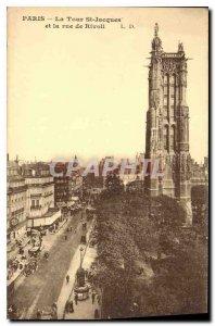 Old Postcard Paris La Tour St Jacques and Rue Rivoli