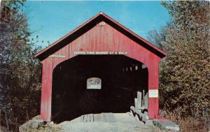 Roseville Indiana~Roseville Covered Bridge @ Big Raccoon Creek~1950s Postcard