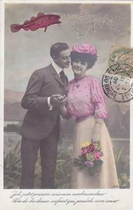 1er Avril April Fool's Day Romantic Couple With Fish 1907