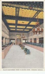 PASADENA , California , 1910s ; Pacific Southwest Trust & Savings Bank Interior