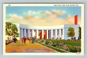 1939 New York World's Fair - Rose Court & Arcade of Business - Linen Postcard