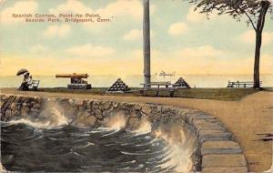 Bridgeport Connecticut~Seaside Park~Spanish Cannon Point~Sea Wall~1910 Postcard