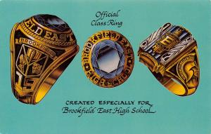 East Brookfield High School WI~Colorful Class Ring Advertising Trade Card 1967