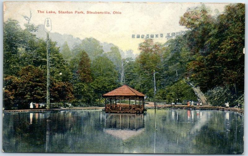 Steubenville, Ohio Postcard The Lake, STANTON PARK Gazebo View c1910s UNUSED