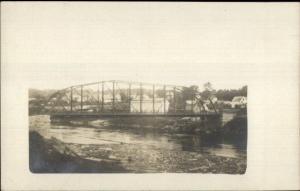 Iron Bridge - Livermore Falls Written on Back c1910 Real Photo Postcard