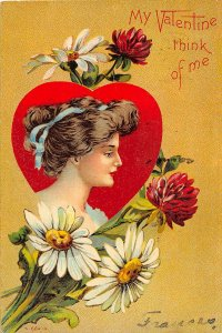 F76/ Valentine's Day Love Holiday Postcard c1910 Beautiful Girl Heart 9