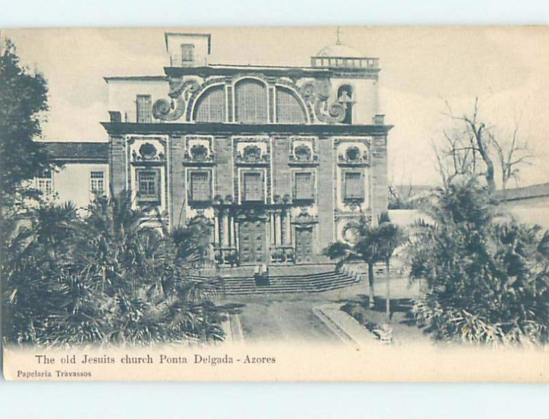 Unused Old Postcard JESUITS CHURCH Ponta Delgada - Azores Portugal F5372