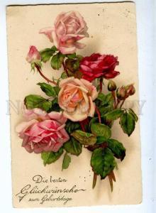 240666 Charming ROSES Flowers UnSign KLEIN Vintage postcard