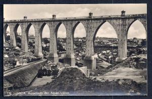 Free Water Aqueduct Lisbon Portugal RPPC unused c1920's