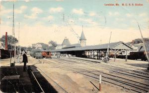 D37/ Railroad Depot Station Postcard 1911 Lewiston Maine M.C.R.R.