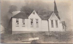Victoria BC 1907 Fire Calvary Baptist Church Unused Real Photo Postcard F84