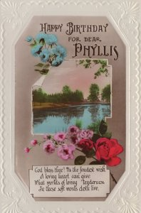 Happy Birthday Name Called Phyllis Antique Greetings Postcard