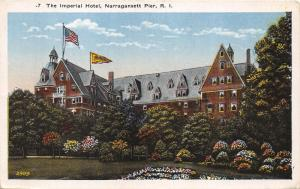 Newport Rhode Island~Imperial Hotel~Banner-Flag on Rooftop~Flower Beds~1920s Pc