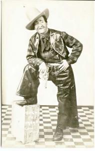 Bozo The Tramp Cowboy RPPC Real Photo  Postcard