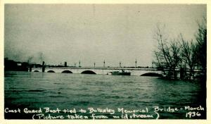 CT - Hartford. March, 1936. Great Flood. Coast Guard Boat tied to Bulkeley Me...