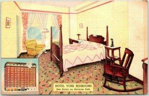 St. Louis, Missouri Postcard HOTEL YORK Room Interior View Curteich Linen c1940s