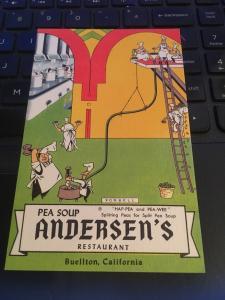 Vintage Postcard: Andersen's Pea Soup , Buellton CA, Hap-pea and Pea-Wee