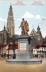 Anvers Belgium, Belgique, Belgie, Belgien Statue Rubens et Fleche de la Cathe...