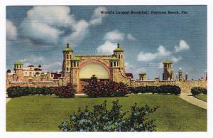 1930-1945 World's Largest Bandshell Daytona Beach FL Antique Linen RARE Postcard
