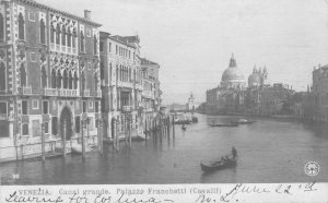 Grand Canal, Palazzo Franchetti, Venice, Italy, 1905 Real Photo Postcard, Used
