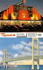 Mackinaw City Michigan~Two Views~Teysen's Neon Lights~Early 1950s Cars~Bridge