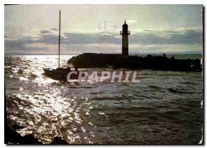Postcard Modern Traveling In The Riviera Mediterraneenne Boat Lighthouse