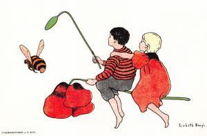 Postcard Art, Children on a Poppy Chasing a Bee by Lisbeth Bergh c1910 26F
