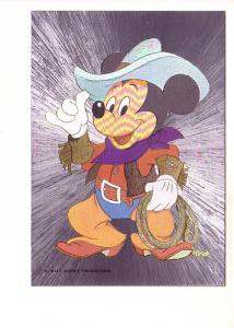 Mickey Mouse Cowboy Outfit, Silver Foil Disney Cartoon Postcard, Dufex