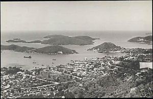 St. Thomas, V.I., CHARLOTTE AMALIE, Panorama 1950 RPPC