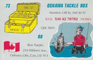 OSHAWA , Ontario , 50-60s ; Fisherman , QSL Radio Postcard