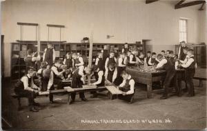 Manual Training Class No. 4 NOH 36 School Young Boys UK ?? RPPC Postcard E54