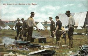 Life in Our Army US Soldiers Cooking in Camp c1910 Postcard #5063