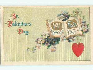 Pre-Linen valentine FEBRUARY 14TH DATE WITH HEART AND BOOK AND FLOWERS J0676