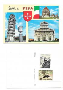 Italy Pisa Multiview Leaning Tower Baptistry Cathedral Stamps Vtg 4X6 Postcard