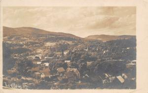 Ludlow Vermont~Birdseye Panorama~Homes~Church Steeple~1905 Real Photo~RPPC